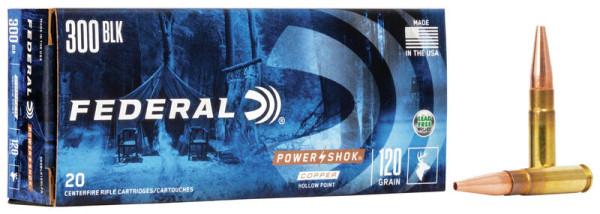 FEDERAL POWER SHOK .300 BLACKOUT 120GR COPPER, VPE: 20STÜCK, #300BLK120LFA